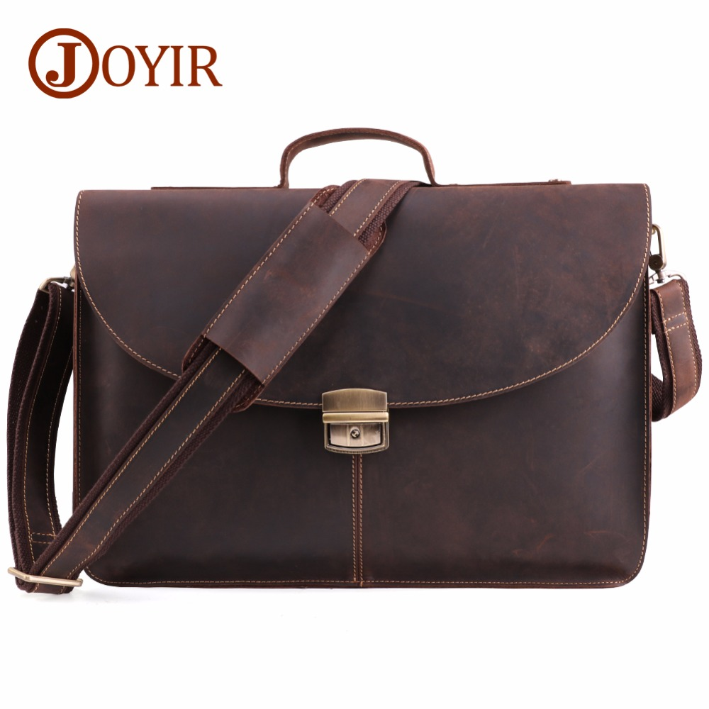 JOYIR Crazy Horse Genuine Leather Men Briefcase Messenger Laptop Bag Business Bags Shoulder Bag Crossbody Messenger Handbag 6359 цена 2017
