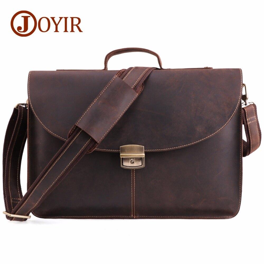 Bagaj ve Çantalar'ten Evrak Çantaları'de JOYIR Çılgın At Hakiki Deri Erkek Evrak Çantası Messenger laptop çantası iş çantaları omuzdan askili çanta Crossbody postacı çantası 6359'da  Grup 1