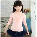 2016 Nova 3-14A crianças T-shirts para meninas primavera outono roupas de algodão meninas moda sólidos meninas longas camisas de manga