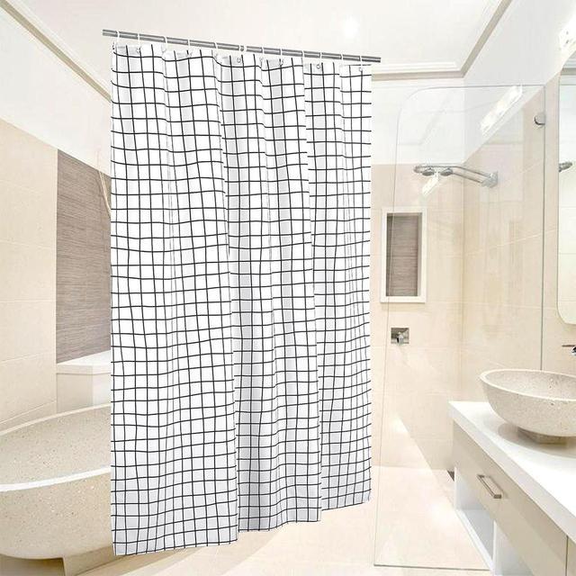 Plaid Shower Curtain Waterproof PVC Mildew Proof Bath Hanging Hotel Bathroom