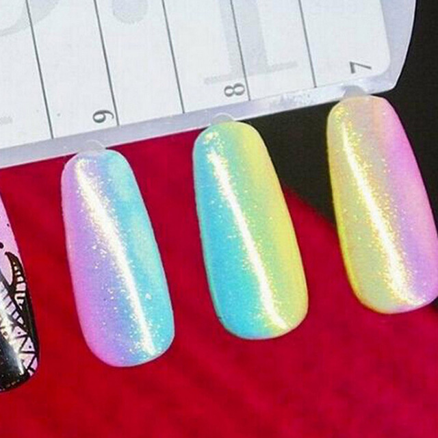 Mermaid Effect Nail Glitter Polish Sparkly Magic Glimmer Powder DIY Nail Art