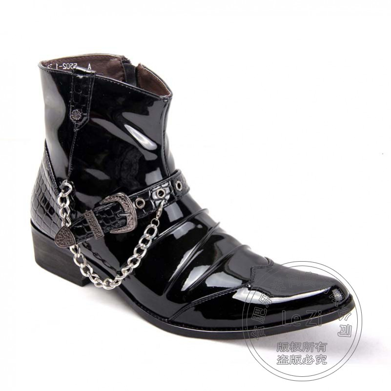 ФОТО Booties Cool Appealing Winkle Picker Buckle For Party Chains High Top Biker Mens Winter Motorcycle Boots Side Zip Coat Of Paint