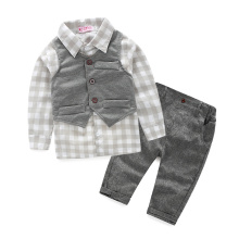 Newest 2016 Autumn Baby Boys Gentleman Suits Infant/Newborn Clothes Sets Kids Vest+Lattice Shirt+Pants 3 Pcs Sets Children Suits