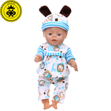 7 Colors Baby Born Doll Clothes Cute Ear Hat+ Coat+ Pants Suit Clothes fit 43cm Baby Born Zapf Doll Accessories  T6 baby born doll clothes fit zapf doll jumpsuit suit with cute hat doll pajamas sleeping clothes 18inch children birthday gifts