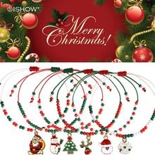 Christmas Gifts Small Beads Bracelets&Bangles Santa Claus Snowflake Pendant Mini Seed Beads Charm Bracelets Cute Jewelry Pulsera
