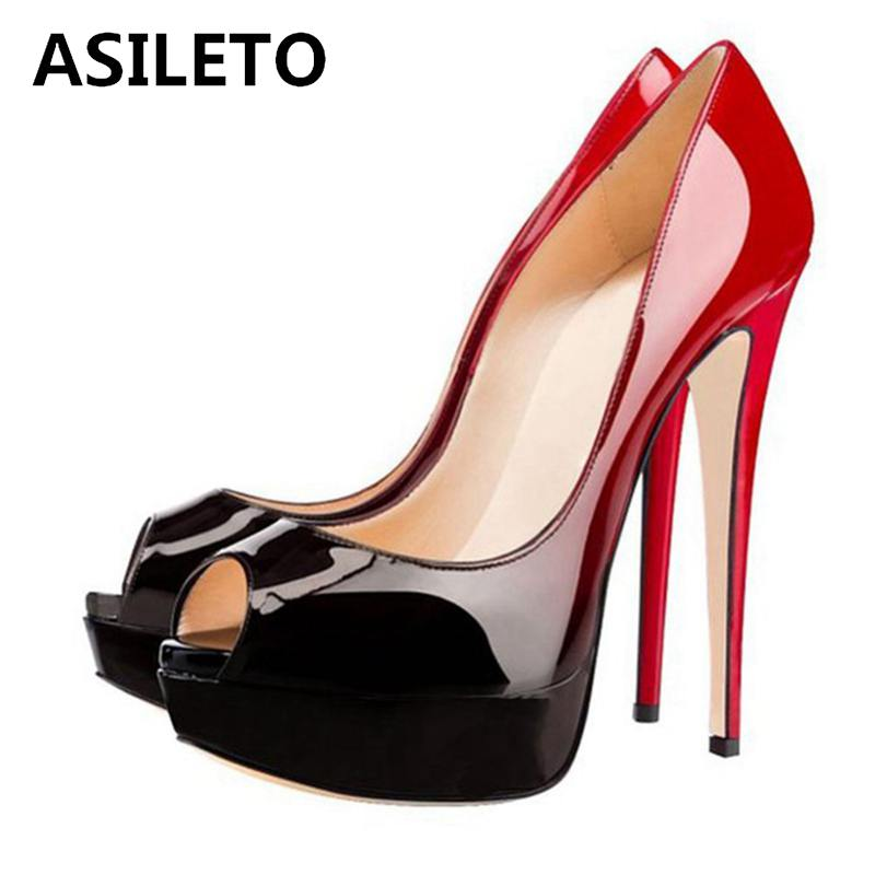 ASILETO catwalk women pumps shoes Peep Toe 13CM High Heel Pumps Sexy platform Nude patent leather