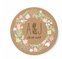 1.5 inç Boho Pastel Çiçek Çelenk Rustik Düğün Klasik Yuvarlak Etiket