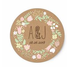 320c36aff 1.5inch Boho Pastel Floral Wreath Rustic Wedding Classic Round Sticker
