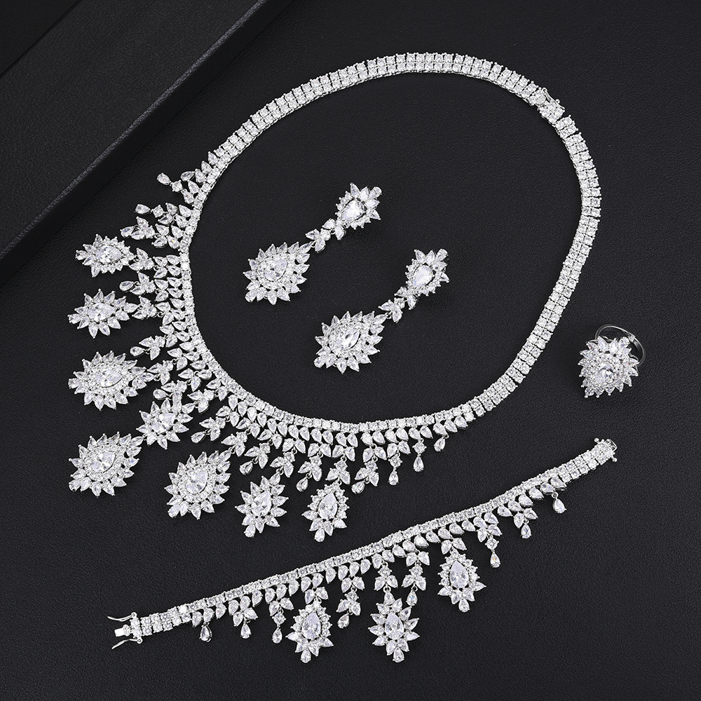 missvikki 4 PCS Full Cubic Zirconia Luxury Women Accessories Bangle Earrings Necklace Ring Jewelry Set Brides Wedding Jewellerymissvikki 4 PCS Full Cubic Zirconia Luxury Women Accessories Bangle Earrings Necklace Ring Jewelry Set Brides Wedding Jewellery