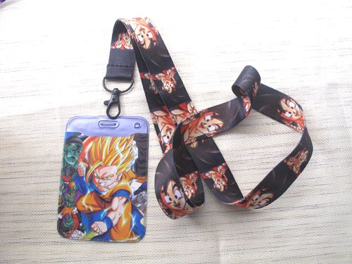1 pcs Dragon Ball Z Goku <font><b>Sayajins</b></font> Maste Named Card Holder with Lanyard Neck Strap Card Bus ID Holders With Key Chain M07 image