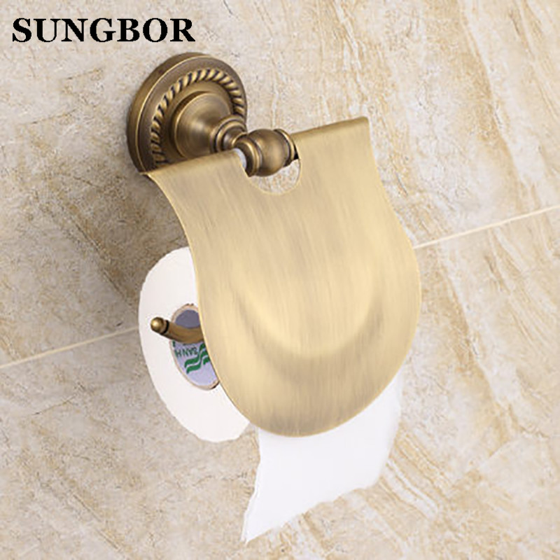 Free Shipping Wholesale and Retail Wall Mounted Toilet Paper Holders Antique Brass Creative Bathroom Roll Paper Rack Rod free shipping wholesale and retail wall mounted bathroom toilet paper holder antique brass roll tissue box