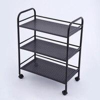 Kitchen Storage Stainless Steel Plate Stand Silver Bathroom Organizer Kitchen Rack 3 Shelf Shelving Unit on Wheels Black