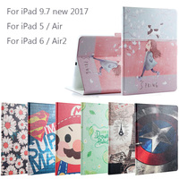 New 2017 For IPad 9 7 Air Air2 Fashion Painted Flip PU Leather For IPad 5