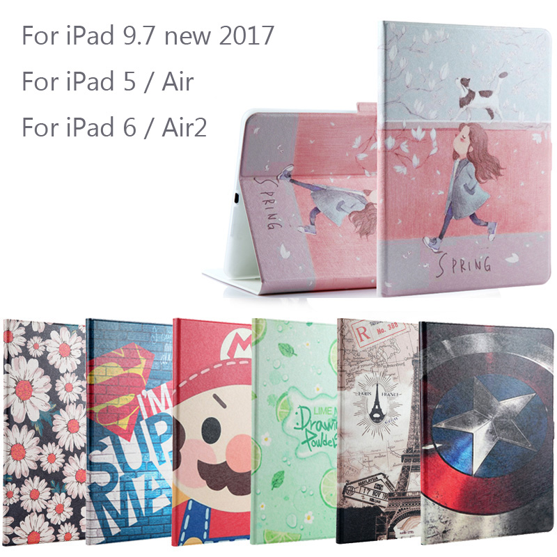 New 2017 For iPad 9.7 / Air / Air2 Fashion Painted Flip PU Leather For iPad 5 / 6 / Air 2 Smart Case Cover + Stylus + Film nice soft silicone back magnetic smart pu leather case for apple 2017 ipad air 1 cover new slim thin flip tpu protective case