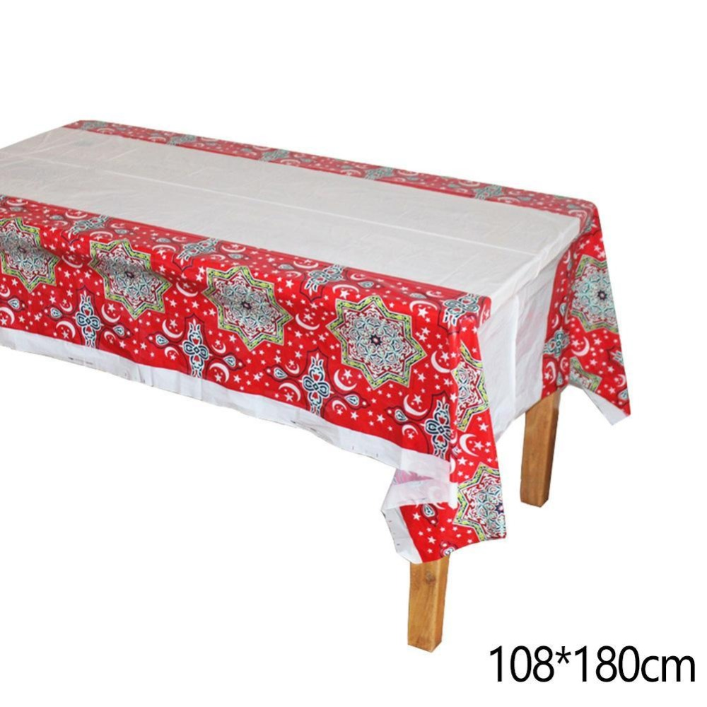 3 Style Plastic Table Cloths Eid Mubarak Ramadan Table Cover Tablecloth Waterproof For Moslem Islamism Decoration 180*108cm