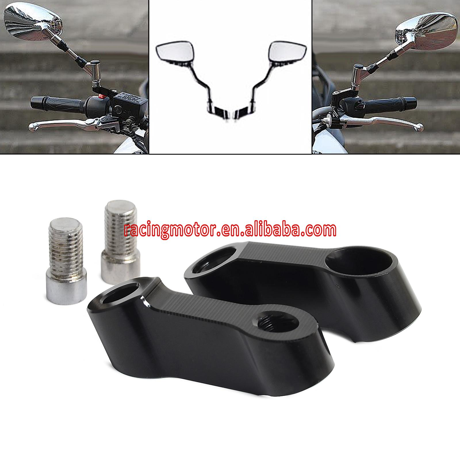 Black Bolts Size 10mm Mirrors Extension Riser Extend Adapter For Yamaha MT-09 MT-07 Fazer FZ-09 V-max 1700 zoomer ruckus fi nps50 black engine frame extend extension kit with handle post