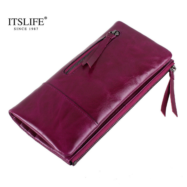 New Vintage long wallet  genuine leather women two fold wallet  with zipper change pocket oil wax leather fashion purse