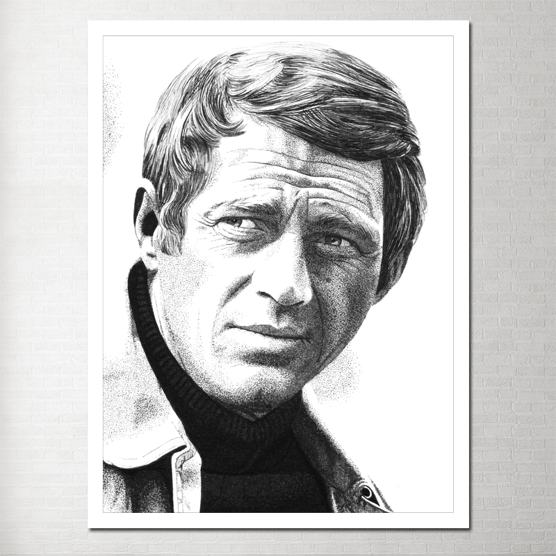 Steve Mcqueen Painting Photo Canvas Poster Living Room Modern Decoration Wall Table Scandinavian Poster Poster Black White Y-03