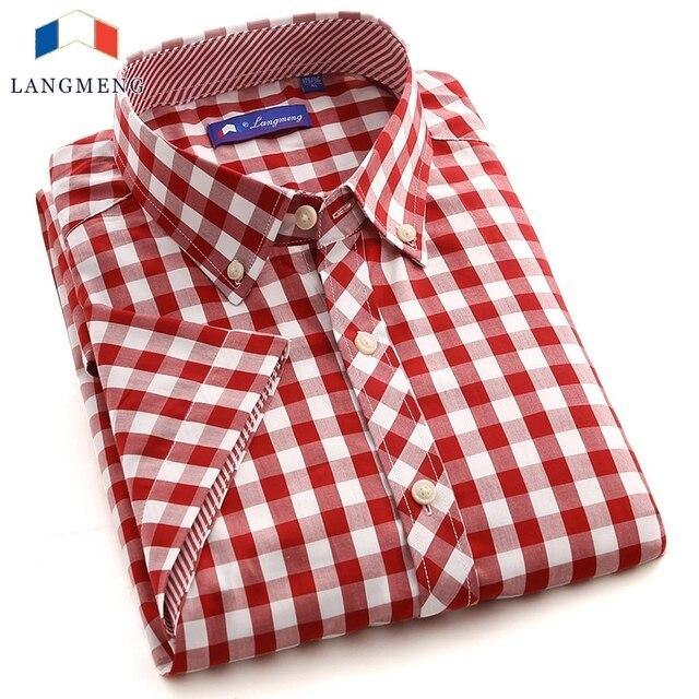 Langmeng  2016 Top Mens  Casual short Sleeved dress Shirt new fashion  cotten clothing big size XXXL dress shirts for men