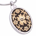 Eternally Loved High Polished Women Flower Locket Urn Pendant Necklace Two Tone Memorial Keepsake Cremation Jewelry