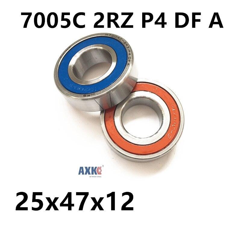 1 paire AXK 7005 7005C 2RZ P4 DF UN 25x47x12 25x47x24 Scellé billes à Contact oblique Roulements Vitesse Roulements De Broche CNC ABEC-7