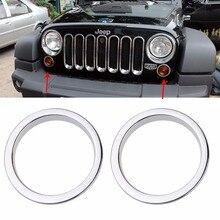 Передняя Amber сигнала Включите свет кольцо отделка для Jeep Wrangler 07-15 индикатор сбоку чайник парковка Включите свет лампы кольцо крышки Рамки