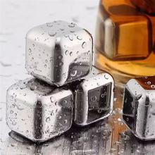10 шт./лот 304 нержавеющая сталь кубики льда для виски камни ледник охладитель напиток морозильник гель лед Рок Вино Виски камень мыльный камень