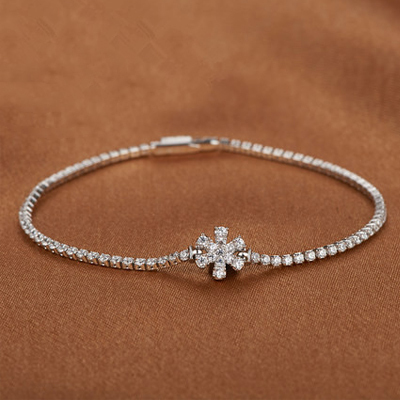 Solid 925 Sterling Silver Snowflake Bracelet With Aaa Cz Platinum Plated Women In Chain Link Bracelets From Jewelry Accessories On