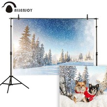 Allenjoy photography background winter snow pine tree bokeh nature backdrop photo shoot props photocall portrait decor