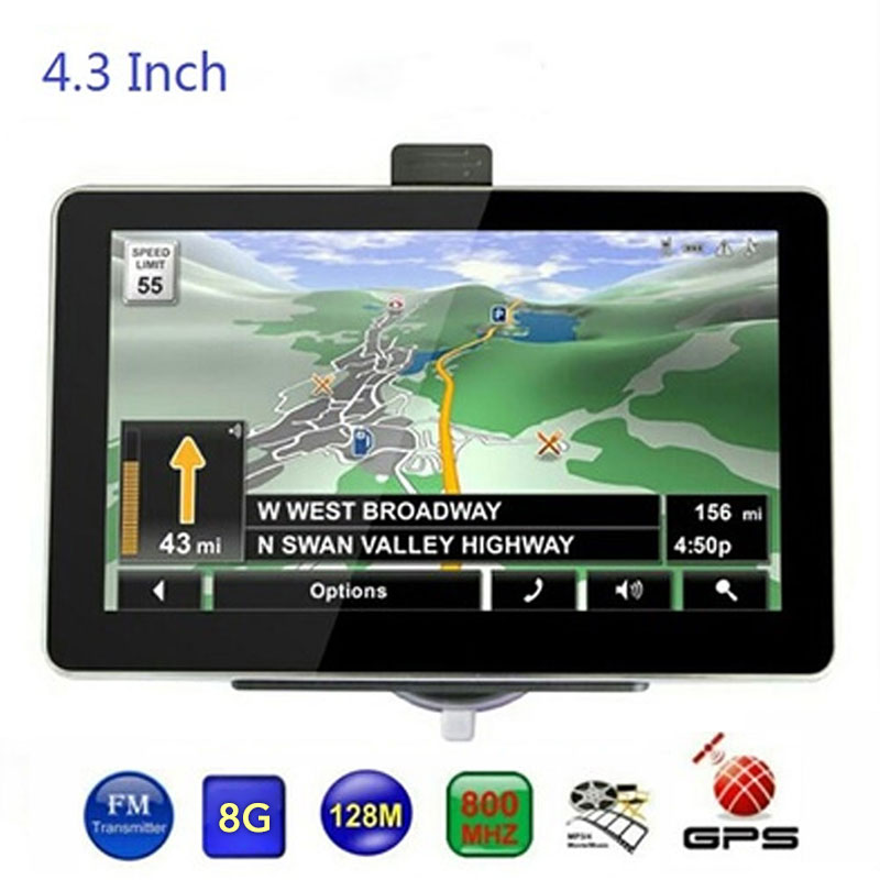 4.3 inch 8GB Vehicle Navigation Car GPS Navigator Digital Car Navigator 128M + 8G Universal Europe Middle East North America Map