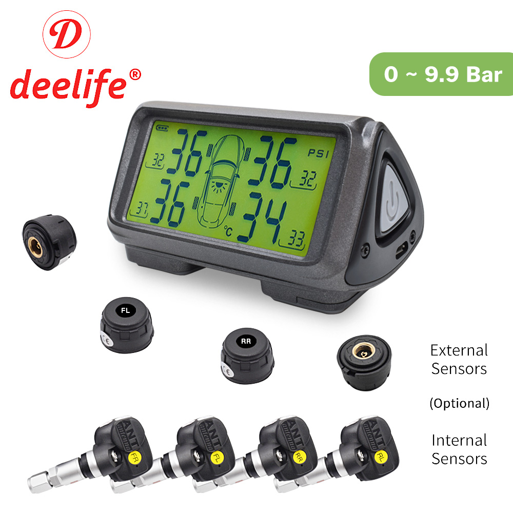 Car TPMS Sensor Tyre Pressure Monitoring System Solar Monitor Tire Wireless Sensors TMPS Wheels Security Alarm
