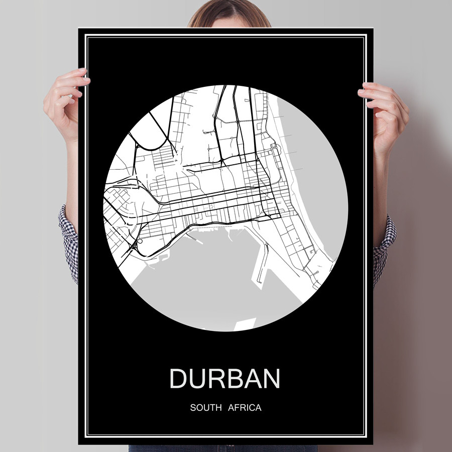 <font><b>DURBAN</b></font> South Africa Famous World City Map Print Poster Print on Paper or Canvas Wall Sticker Bar Pub Cafe Living Room Home Decor image