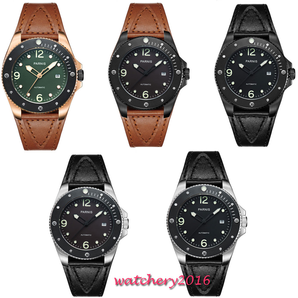 где купить 43mm Parnis Black Brown Green Dial Sapphire Crystal Luminous Date window Luxury Brand Miyota Automatic Movement mens Watch по лучшей цене