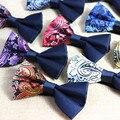 2016 de La Moda de Los Hombres de Poliéster de Seda de Paisley Floral de la Tela Escocesa Corbatas Pajaritas de Esmoquin Para Los Hombres del Bowtie de la Boda Clásico Ajustable de la Pajarita