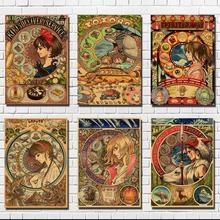 Hayao Miyazaki Japanese classic anime poster retro kraft paper painting decorative