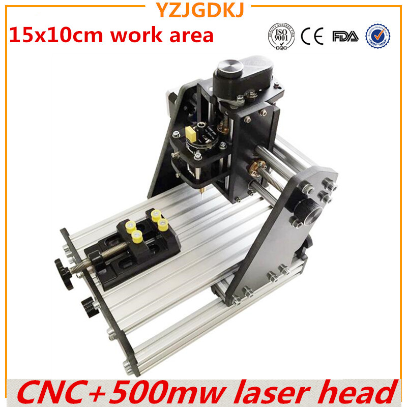 Wood Router+500mw laser CNC 1510+500mw laser GRBL control Diy high power laser engraving CNC machine,3 Axis pcb Milling machine