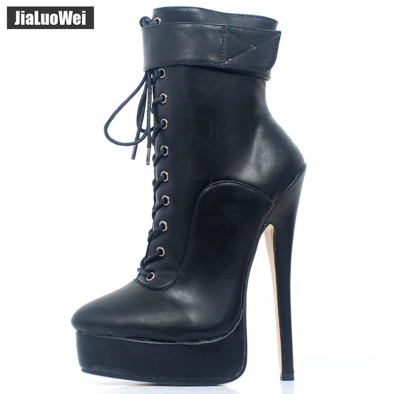 f1cdad4823ee ... Ladies sexy fetish boots. . jialuowei New Women Shoes PU Leather Ankle  Strap Boots 18cm 7