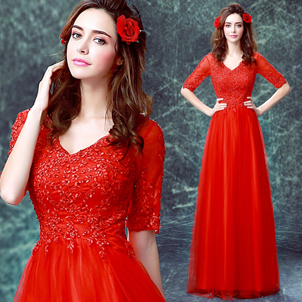 2017 New Arrival Stock Maternity Plus Size Bridal Gown Pregnant Evening Dress Red Lace V Neck A Line Simple Sexy Princess 0603