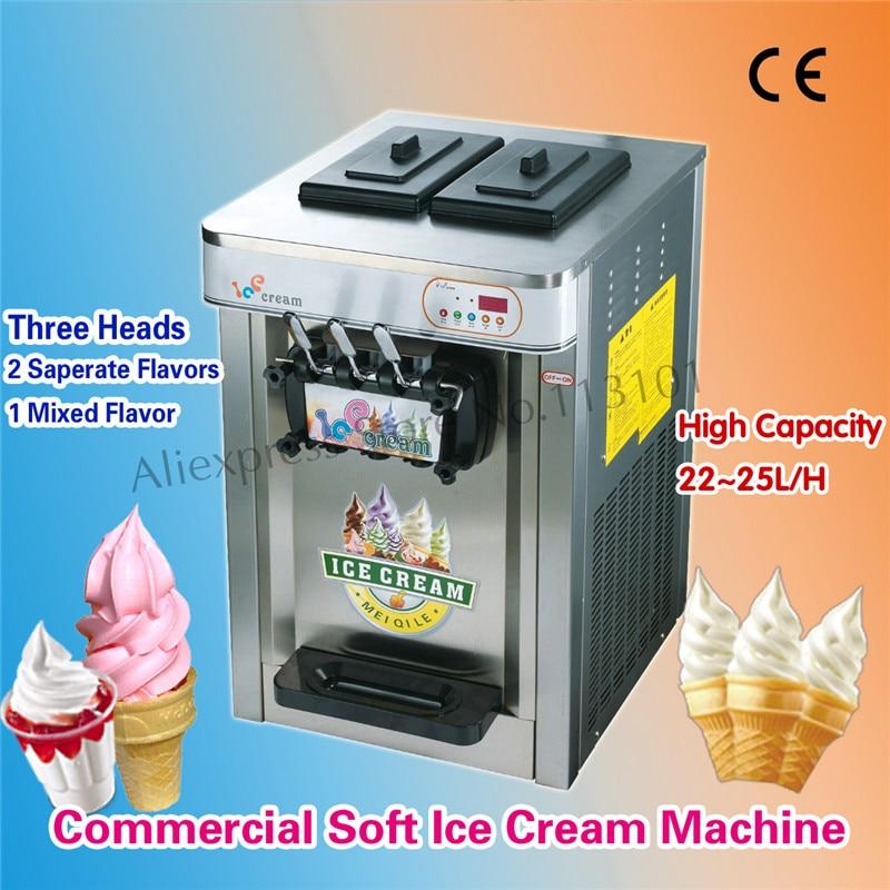 Counter Top Soft Serve Ice Cream Machine Sundaes machine 220V Three Heads Brand New