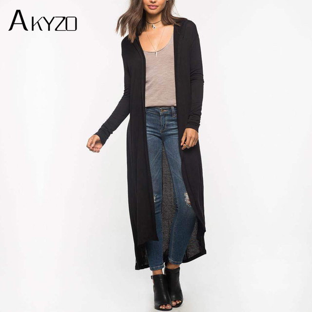 AKYZO 2017 Hooded Long THIN Cardigan Women Spring Autumn New ...