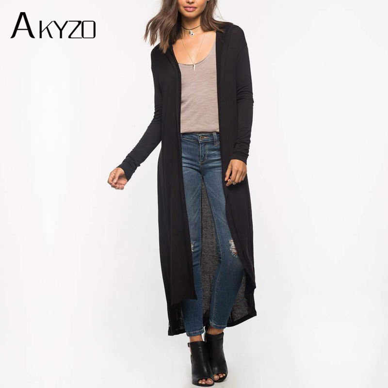 AKYZO 2017 Hooded Long THIN Cardigan Women Spring Autumn New Casual Big Size Long Sleeve Cardigan Female Black Army Green Blouse