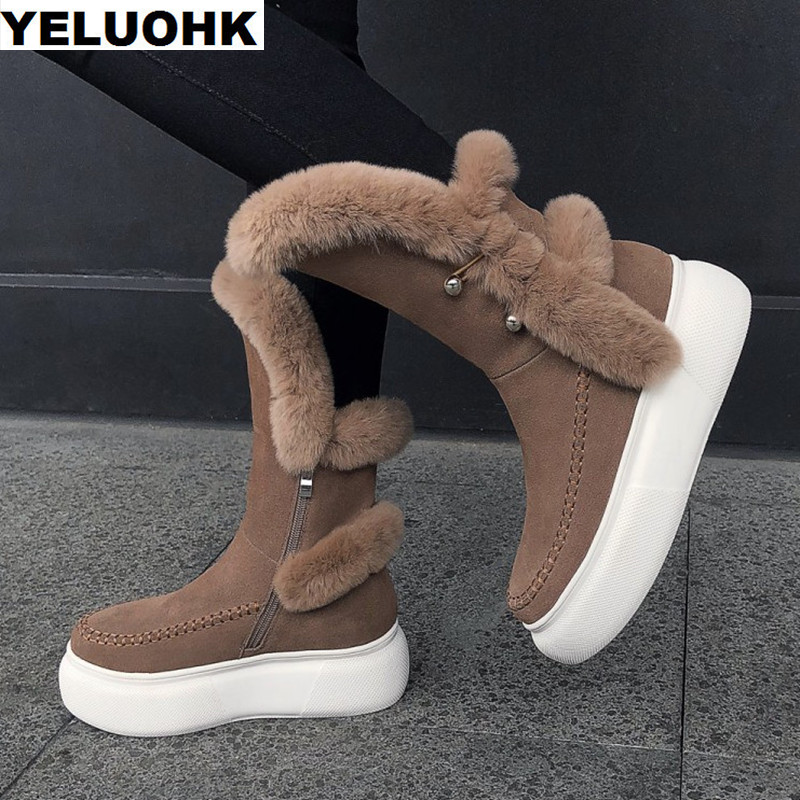 New Brand Plush Snow Boots Women Winter Shoes Warm Mid Calf Boots Female Platform Shoes Suede Leather Winter Boots High Quanlity 2017 black women boots sheepskin winter warm plush female boots mid calf genuine leather women shoes