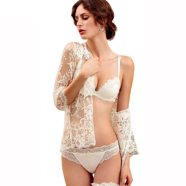 fcc7b3d1c9 White Bra Set Sexy Push Up Lace Underwear Women Brand Intimates D Cup Plus  Size Diamond Lingerie Girls Small Bras Strappy Lolita