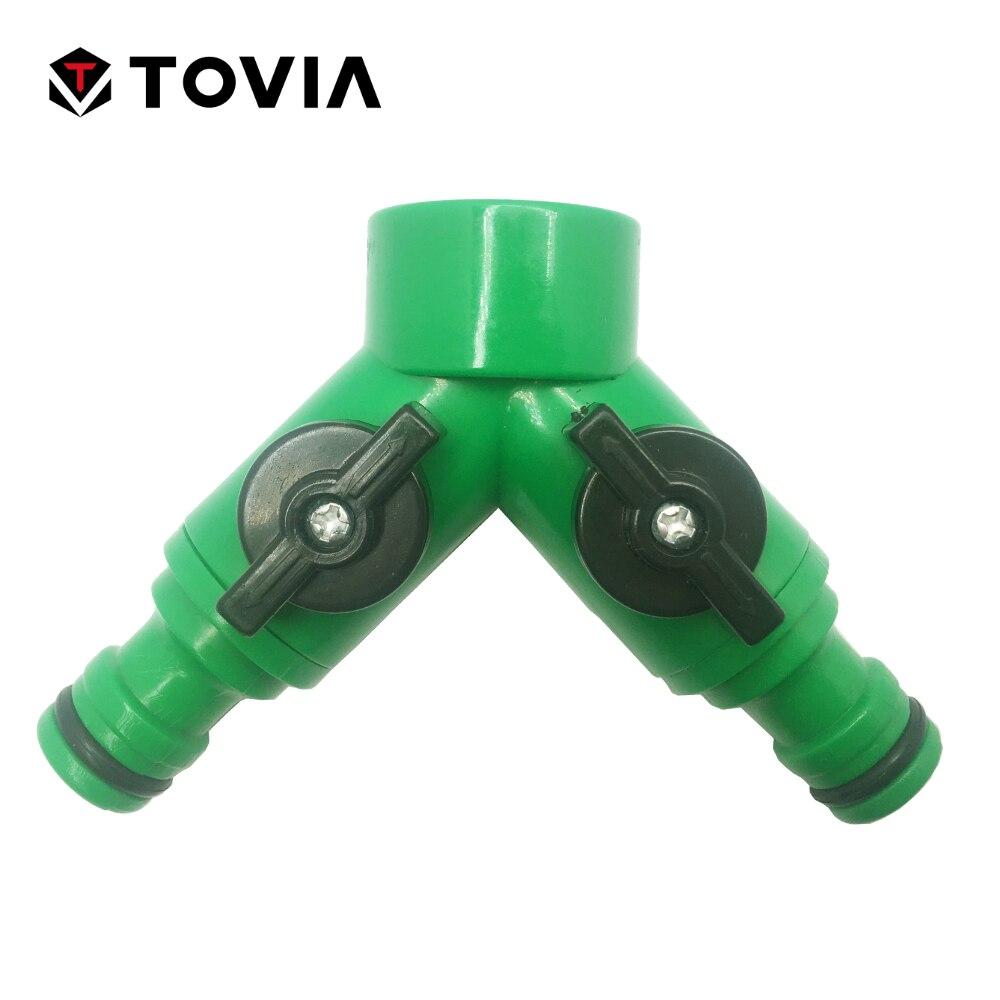 2 Way Solid Y Valve Garden Hose Connector Splitter Adapter