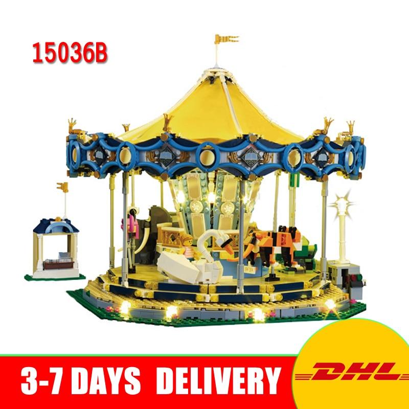 In Stock Lepin 15036B Genuine Street Series The New Carousel Lighting Set Children Building Blocks Bricks Model Toys Best Gifts