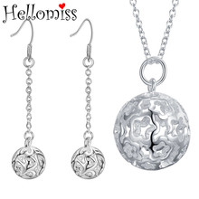 Fashion Silver Jewelry Sets for Women Ball Pendant Necklace Earrings 2 Pcs Classic Design Costume Jewelry Set Gifts for Lovers