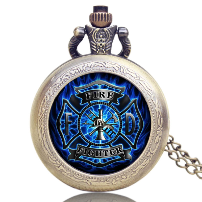 Fire Fighter Theme Old Antique Bronze Pocket Watch With Chain Necklace Best Gift To Firemen