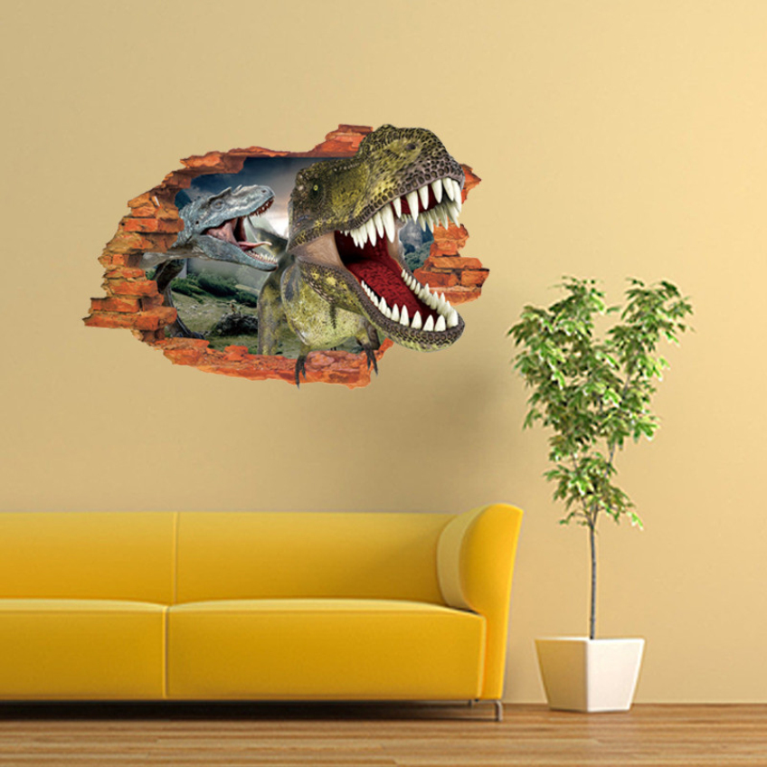 3d cartoon wall stickers mural dinosaur decal quotes art for Dinosaur wall mural