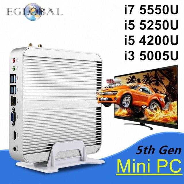Sans ventilateur Barebone i5 i7 Mini PC Win10 3 ans de garantie ordinateur Nuc Intel Core i7 5550U i5 5250U 4200U i3 5005U 4 K HTPC TV Box