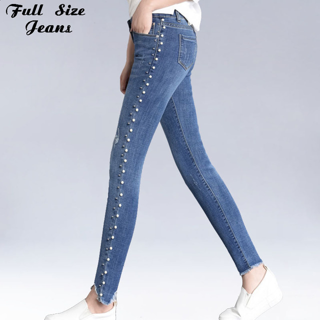 f410565cefe Summer Plus Size Skinny Side Pearl Beading White Wash Capris Jeans 4Xl 5Xl  Light Blue Stretch Denim Pants Women Casual Trousers